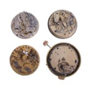 Three chronograph watch movements and another quarter-repeating, all unsigned, Swiss, 20th century