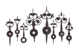 A group of seven steel lantern clock hands, anonymous, second half of the 17th century and later