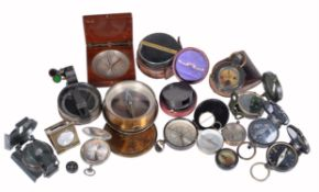 A collection of pocket sighting compasses, various makers, late 19th century and later
