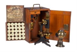 A late Victorian brass compound monocular microscope, unsigned, Late 19th century