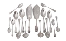 A collection of George III and later silver flatware