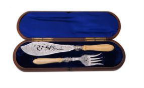 A pair of Victorian silver and ivory fish servers by Walker & Hall