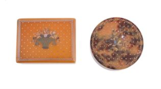 Two early 19th century blonde tortoiseshell and mixed metals piqué bonbonnieres