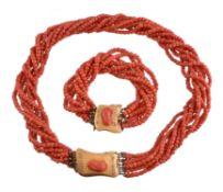 A multi strand coral necklace