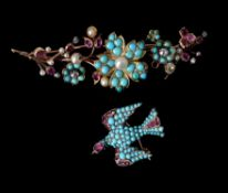 A mid 19th century turquoise and ruby St Esprit brooch
