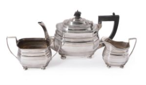 A silver shaped oblong baluster tea set by S. Blanckensee & Son Ltd.