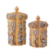 Two modern Chinese silver gilt coloured filigree and enamel hexalobe shaped boxes and covers