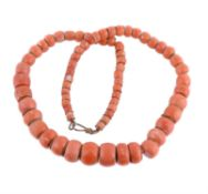 A single strand of natural coral beads