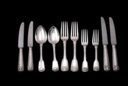 A silver fiddle, thread and shell pattern table service