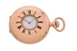 Tiffany & Co., Gold coloured half hunter keyless wind fob watch
