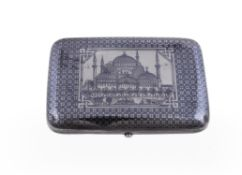 A Turkish silver and niello rounded rectangular pocket box