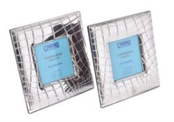 Two silver mounted square photo frames by Carr's of Sheffield Ltd.