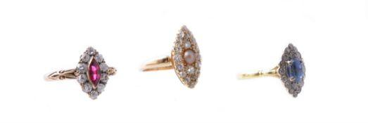 A late Victorian half pearl and diamond ring