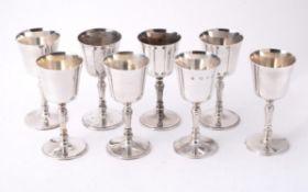 A set of eight silver goblets by C. J. Vander Ltd.