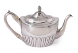 A George III silver oval tea pot by Peter, Ann & William Bateman