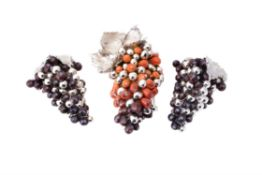 Three Italian silver electro-formed over resin bunches of grapes by Laminato AG