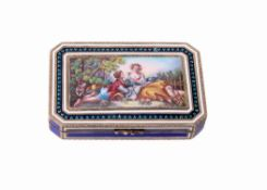 A Continental silver gilt and enamel canted-rectangular box