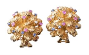 A pair of 1960s ruby, sapphire and diamond ear clips