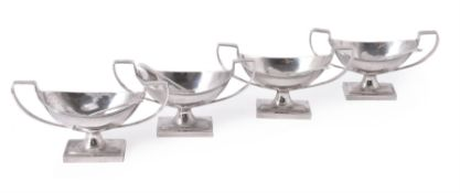 A set of four Scottish George IV silver oval pedestal salts