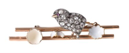 An early 20th century diamond and enamel chick and egg brooch