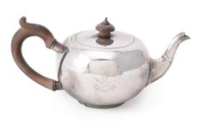 A Britannia standard silver bullet shaped tea pot by C. F. Hancock & Co.