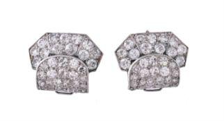A pair of Art Deco diamond ear clips