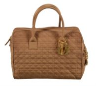 Christian Dior, Boston, a brown quilted Cannage polyester handbag