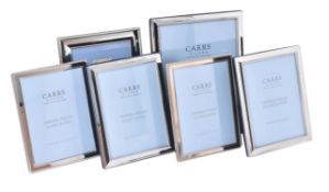 Six electro-plated photo frames by Carr's of Sheffield Ltd.