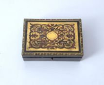 Y A boulle work and ebonised desk box