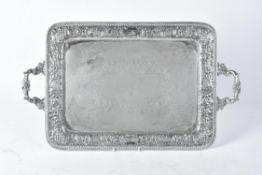 An electro-plated twin handled tray