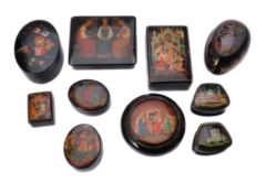 Nine Soviet Russian painted lacquer boxes