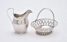 A George III silver oval sweet basket