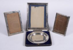 A cased silver christening plate by Atkin Brothers