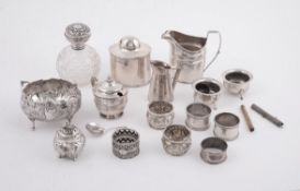 A collection of silver, silver coloured and silver mounted items