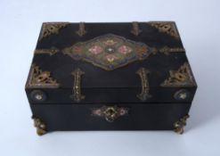 A champlevé enamel, brass and ebonised box