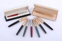 Parker, nine assorted fountain pens with hooded nibs