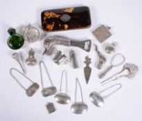 Y A collection of small silver, plated wares and objects