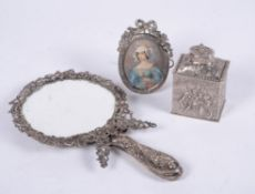 A Victorian silver mounted hand mirror come dressing table mirror by Samuel Walton Smith