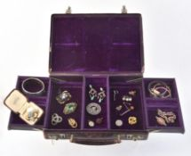 A small quantity of jewellery and costume jewellery in a Harrods jewellery box