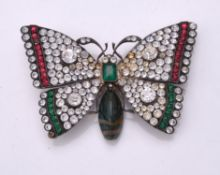 A paste and agate butterfly brooch