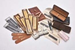 Parker, a collection of boxes, pouches, phonebook, refills, spares and other items