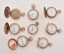 A collection of eight gold plated pocket watches