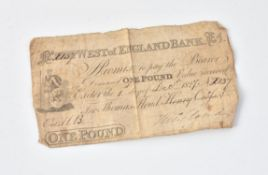 Devon, Exeter, West of England Bank, One Pound