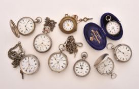 A collection of nine silver pocket watches
