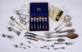 Y A collection of silver, silver coloured and electro-plated flatware