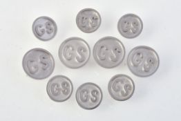 A set of white gold coloured blazer buttons