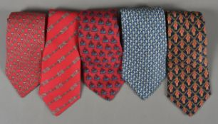 Hermes, a collection of five silk ties