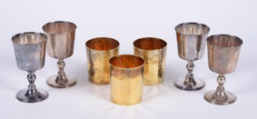 Four silver goblets by Wakely & Wheeler