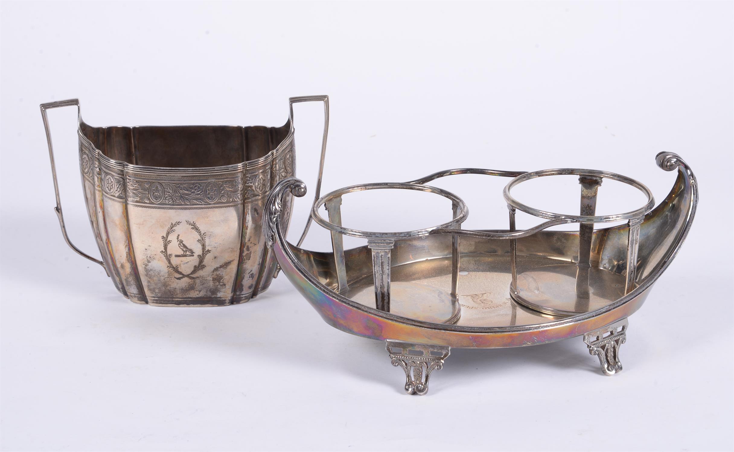A George III silver twin handled shaped oval sugar basin by Thomas Wallis II