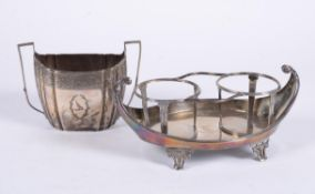 A George III silver twin handled shaped oval sugar basin by Thomas Wallis II